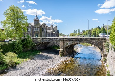 Hawick, Scotland - May 12 2019;  Old bridge over the Teviot River