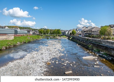 Hawick, Scotland - May 12 2019;  River Teviot in Hawick Town