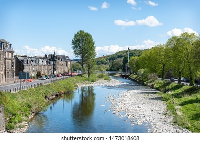 Hawick, Scotland - May 12 2019; Teviot River in Hawick