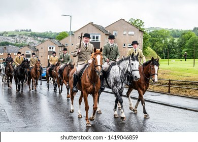 Hawick, Scottish Borders, UK. 5th June 2019. The Wednesday of Hawick Common Riding week when the Mosstroopers flag is unveiled at St. Leonards for a 'practice' run before the Thursday morning chase.
