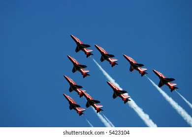 Hawk trainer jets flying in close formation