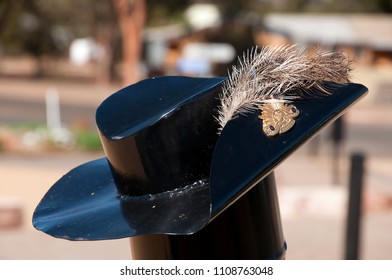 Hawker South Australia, Apr 25 2018,  metal sculpture of slouch hat with emu feather at the war memorial designed and created by the local community