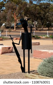 Hawker South Australia, Apr 25 2018,  metal sculpture with emu feather in slouch hat at the war memorial designed and created by the local community