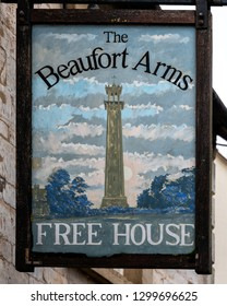 Hawkesbury Upton, United Kingdom - January 2019: Beaufort Arms public house sign,  The Cotswolds