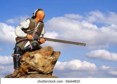 Hawkeye. Native Indian, English-French War.  Very old and rare wooden antiquity sculpture.