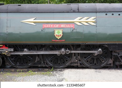 HAWORTH, ENGLAND, JUNE 23 2018.  The nameplate of former Southern Railway steam locomotive 34092 City of Wells at Haworth shed on The Keighley and Worth Valley Railway, England.