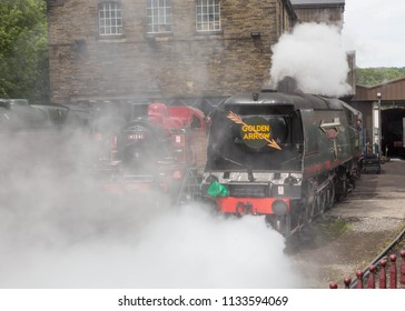 HAWORTH JUNE 23 2018.  Ex Southern Railway West Country Class steam locomotive 34092 City of Wells with other locomotives making steam at Haworth shed on the Keighley and Worth Valley Railway.