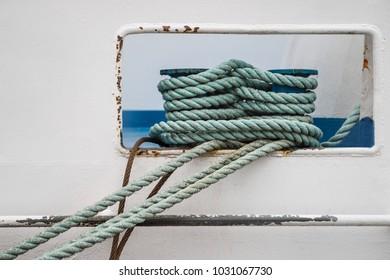 Hawser rope on boat