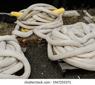 Hawser Ropes in a Navy Yard