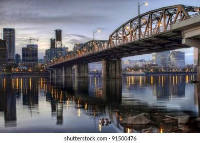 Hawthorne Bridge Across Willamette River with Portland Oregon Skyline Downtown Waterfront