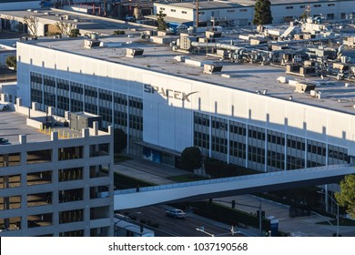 Hawthorne, California, USA - February 20, 2018:  Aerial view of the SPACEX headquarters and rocket manufacturing building.