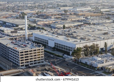 Hawthorne, California, USA - July 10, 2017:  Aerial view of the SPACEX headquarters and rocket manufacturing building.