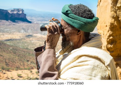 Hawzen, Tigray, Ethiopia 11/25/2017 Abuna Yemata Guh, Tigray rock hewn churches. Gheralta massif. Worshipers at church.