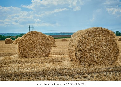 Hay bale field and beautiful blue sky. Agriculture. Rural nature. Farm land. Yellow golden harvest in summer. Countryside natural landscape. Harvesting.