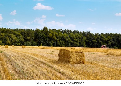hay bale on harvested fields in late summer