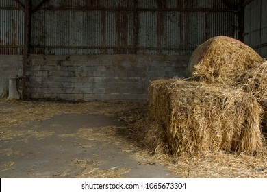 Hay bales on barn floor