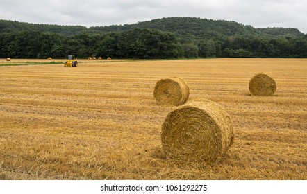 Hay bales sit after harvest in a rural Hokkaido field