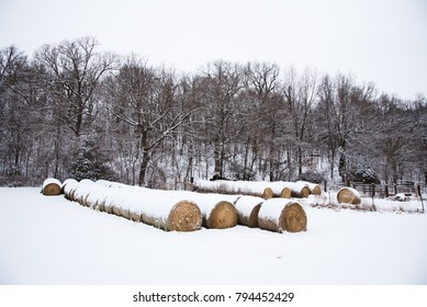 Hay Bales in the Snow in Springfield, Missouri during winter.