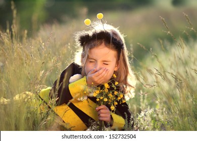 hay fever - little girl dressed as a bee