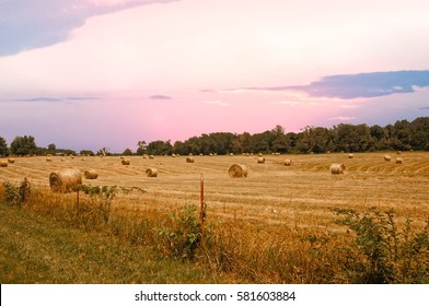 Hay field at sunset in rural south Alabama