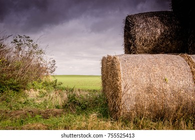 Hay on the field, cloudy sky, summer in countryside concept, Bales of hay to feed cattle in winter. Swidnica, Poland, September 2017