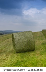A Hay Roll on a Countryside. A summery, moody scene in Germany/Eifel Region