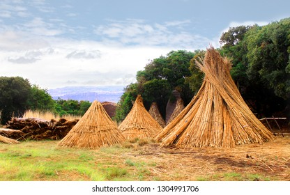 Hay stacks for the African huts rondavels construction. Basotho tribe village. South Africa. The yellow hay pile on the greens background. Stunning countryside landscape.