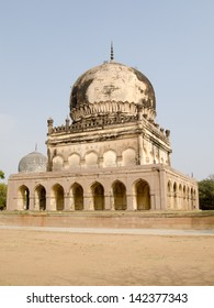 Hayath Bakshi Begum tomb, part of the Qutb Shahi Tomb complex in the Golkonda area of Hyderabad, India.  The tombs are hundreds of years old, dating from the Mughal Empire.