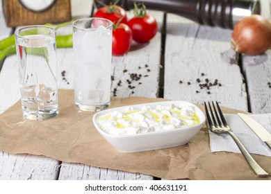 Haydari Turkish Traditional Appetizer, yogurt and cucumber (kuru cacik)