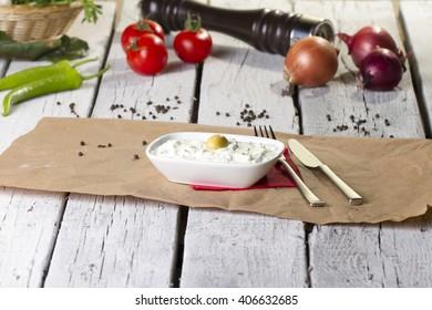 Haydari Turkish Traditional Appetizer, yogurt and cucumber (kuru cacik)
