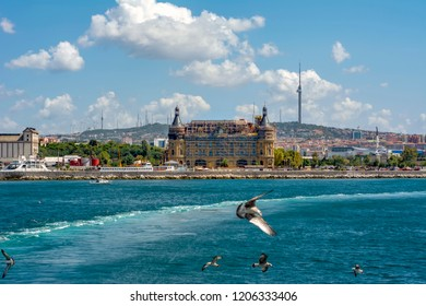 Haydarpasa train station on the Asian part of Istanbul is one of the historic landmarks of the city and Beautiful View of Bosphorus Turkey in Istanbul