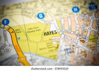 Hayes. London, UK map.