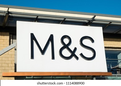 Hayle, UK - June 2018: Marks and Spencer (M&S) signage above a store entrance