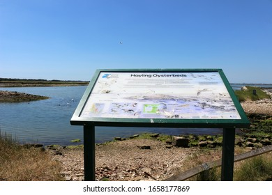 Hayling Island, Hampshire, England. 22nd June 2019. A sign at the site of the old oyster beds showing the different species of birds now thriving there.