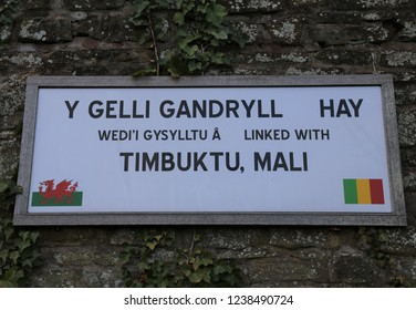 Hay-on-Wye, Powys, Wales, UK. November 17, 2018.  The Timbuktu Mali twin town sign with this Welsh village.