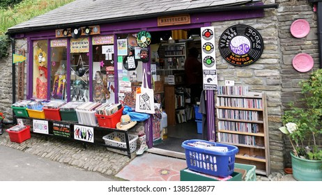 Hay-on-Wye, Wales - Aug 2016: Old shop of new and used books, records, CD's and other fine items in the famous book centric town of Hay-on-Wye in Breconshire, Wales.