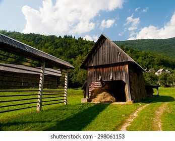 Hayrack and shed in slovenian village, Bohinj region, Slovenia