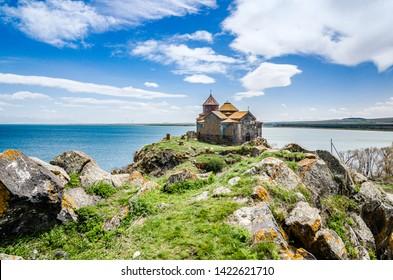Hayravank Monastery on coast of Sevan Lake in Armenia