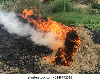 Haystack burning with fire and smoke in farm
