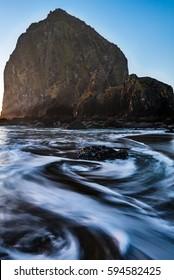 Haystack Rock Long Exposure Swirl