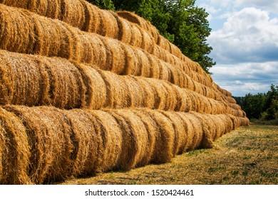 Haystack rock on agricultural field. Farmland haystack view.