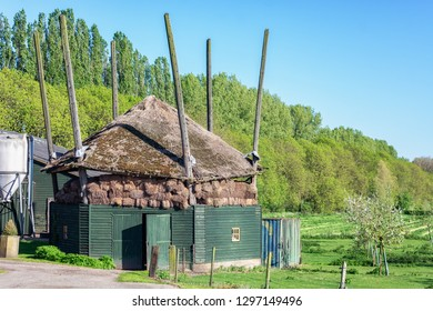 A haystack with thatched roof at a farm in De Betuwe in the Netherlands