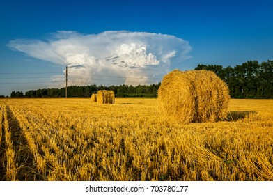 haystacks in a rural field in autumn with the cloud, Russia, Ural, September