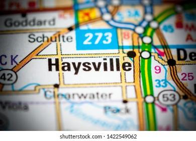 Haysville. Kansas. USA on a map