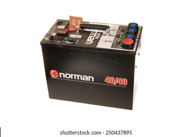 Hayward, CA - February 2, 2015: Norman 40/40 Powerpack for photographic  studio strobes - illustrative editorial