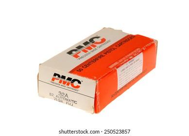Hayward, CA - February 3, 2015: box of PMC 32 Auto 71 grain full metal jacket ammunition - illustrative editorial
