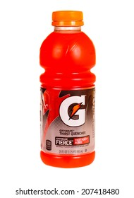 Hayward, CA - July 24, 2014: 20 fluid oz bottle of Gatorade thirst quencher in fruit punch berry flavor