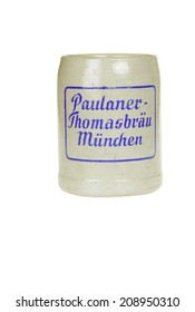 Hayward, CA - July 30, 2014: Commemorative pottery beer mug from the Paulaner-Thomasbrau brewery in Munchen