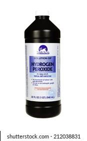 Hayward, CA - July 31, 2014: 32 fl oz bottle of Swan brand Hydrogen Peroxide