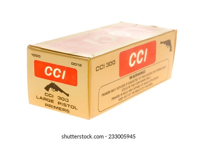 Hayward, CA - November 23, 2014: Box of CCI Large Pistol Primers
